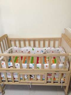 Baby Cot Full Set With Coconut Husk Mattress!