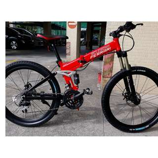 "Genuine Ferrari Brand FB2615 Foldable MTB FULL SUSPENSION 26"" / 24 Speed"