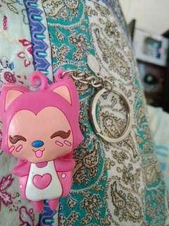 Pink cat nailcutter keychain