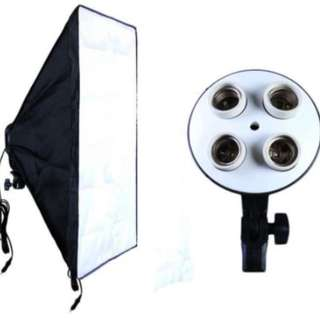 Photographic Equipment Photo Studio Soft Box Kit Video Four-capped Lamp Holder Lighting+50*70cm Softbox Photo Box