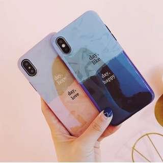手機殼IPhone6/7/8/plus/X : 簡約拼色藍光全包黑邊軟殼