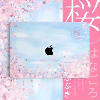 Japanese Pink Floral Cherry Blossom Macbook Vinyl Decal