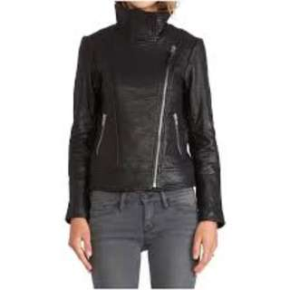 Whistles Leather Motorcycle Jacket (Funnel Neck design)