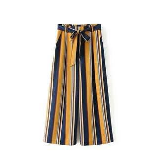 歐美時尚休閒渡假日韓系簡約個性英倫直條紋撞色高腰綁帶長褲寬褲闊腿褲