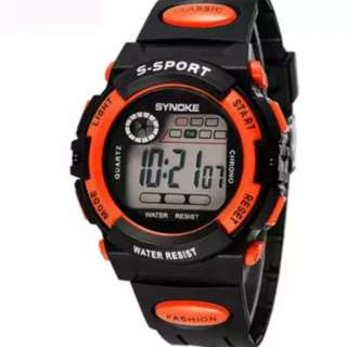 Multifunction Digital Children Watch Girls Boys Students Clock Alarm Sport Wrist Watch (Orange)