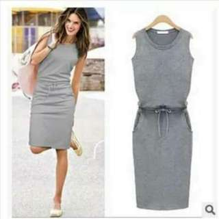 💰330 🌺Korean Dress ( plain )  🌼cotton  🌷fit S to L ( free size )  💫Three Colors ( navy blue,pink,gray ) 🎀Good Quality 💕 ✴uoc