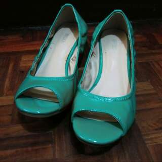 Expression open-toe heels (sea green/teal)