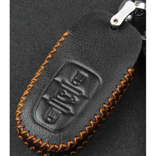 Audi Type B Car Key Leather Pouch Black w/ Brown Thread