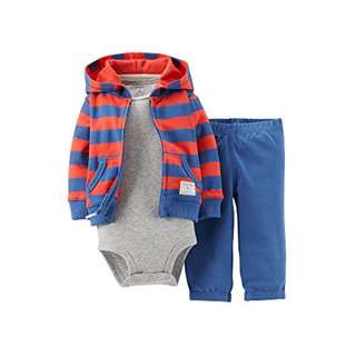 #121d100 Carter's Baby Boys 3 Piece Bodysuit Jacket Outfit 初生嬰兒 bb衫 外套 褲仔 包郵
