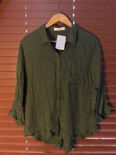 Promod Olive Green Long Sleeve Top