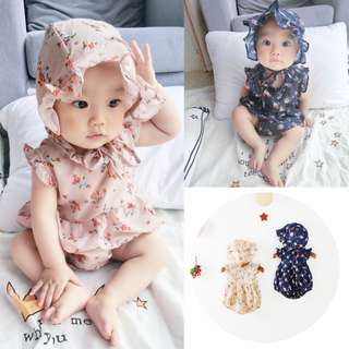 BMT412 - Floral Onesie with Hat *Cotton*