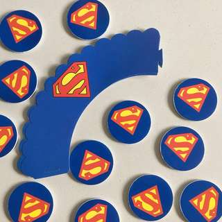 [$6/24pcs] Superman Cupcake Wrappers & Toppers for Birthdays