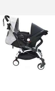 Baby throne stroller and car seat