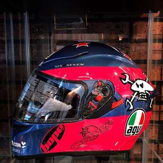 🚚 【中山安全帽】AGV K3-SV GUY MARTIN PINK BLUE 安全帽 全罩式進口帽 義大利PINK 骷髏頭 $9,700