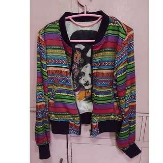 H&M Fashion Against Aids Aztec/Tribal Reversible Bomber Jacket