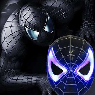 Superheroes Cosplay Anime Mask with LED Light-Black Spiderman