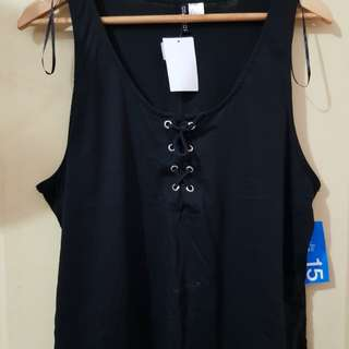 Black Lace Up Sleeveless