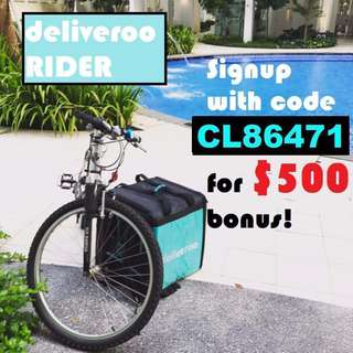 Deliveroo Food Delivery - Up to $27/h Bicycle/Motor/Escooter