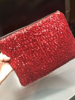 Glitter red pouch