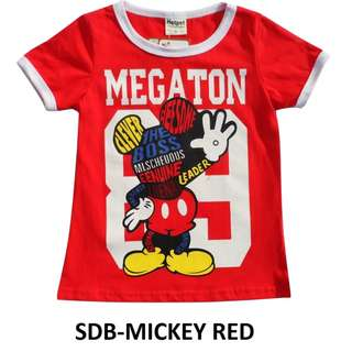 size 90 (1-2years old) very good material mickey mouse t shirt top toddler children kids baby also can wear red colour christmas outfit by colour theme