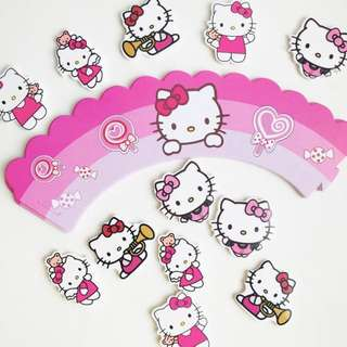 [$7/24pcs] Hello Kitty Cupcake Wrappers Toppers Girls Birthday