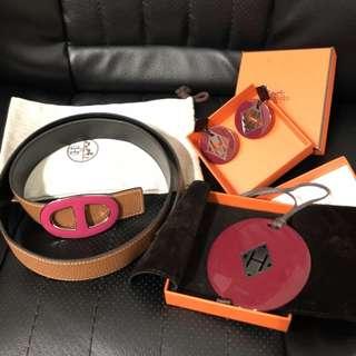 set sale - HERMES chaine d'ancre belt (N) | kuartz necklace | kuartz earrings