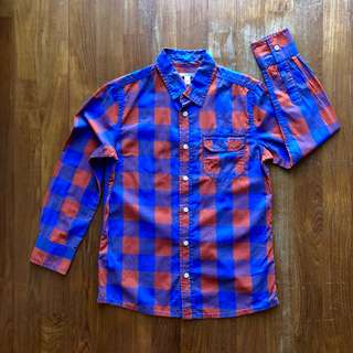 Esprit orange and blue checked long-sleeved shirt