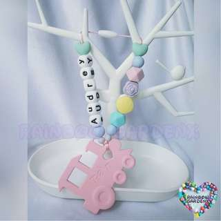 Pastel Pink Train Teether with customised name + beads carrier accessory