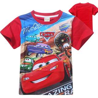 clearance size 140 (6-8 yr old): Lightning mcqueen cars Movie short sleeve t shirt for children toddler boys kids baby
