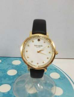 KATE SPADE Monterey MOP Dial Stainless Steel Black Leather Watch-GOLD