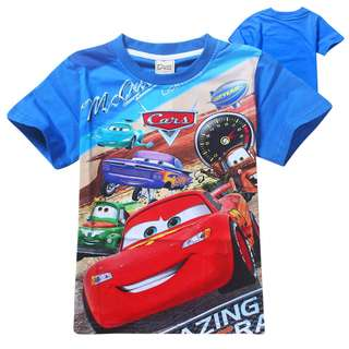 CLEAR STOCK SIZE 130 / 140 (5-8 YR OLD)l ightning mcqueen cars t shirt short sleeve version children wear cotton material for kids toddler boys disney cars
