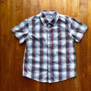 FOX blue and red and grey plaid shirt-sleeved shirt