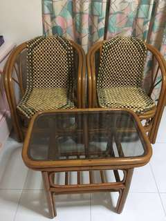 Moving House Clearance! Vintage Rattan table chair set