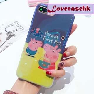 手機殼IPhone6/7/8/plus/X : Peppapig小豬藍光全包邊軟殼