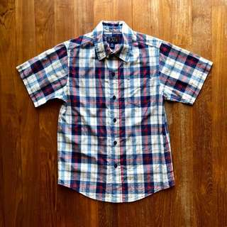 The Children's Place blue, white and red plaid shirt-sleeved shirt