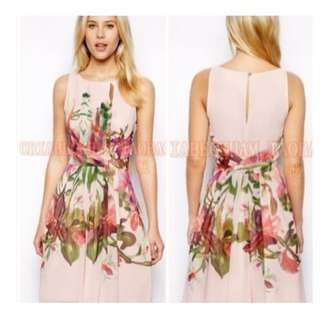 🚚 BN Pink Chiffon Floral Dress size L
