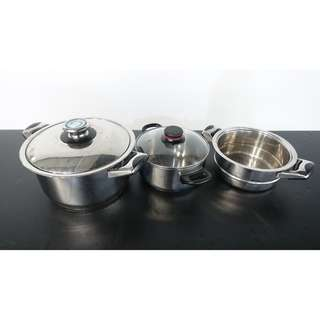 Pots with Lids & Sieve CLEARANCE SALE