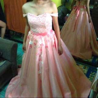 Rose Gold Ball Gown w/ Mermaid Fitted Gown (Gown for Rent)