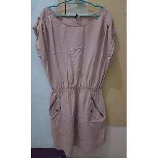 H&M Beige Gather-waist Dress