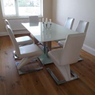 MF DESIGN glass dining table with 6 chairs