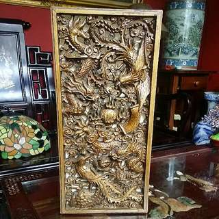 Dragon Phoenix carving Chinese  Vintage Panel