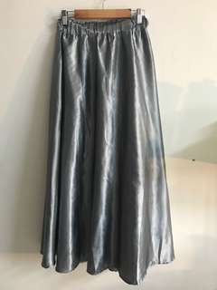 Grey Metallic Long Skirt