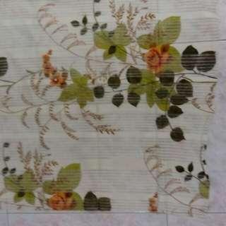 Retro-style curtain fabric: orange flowers design