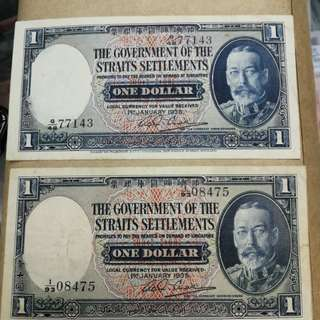 Straits 1935 $1,2 pieces original.good vf bright colour scarce
