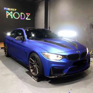 Matte Chrome Blue BMW 535 523 435 320 Car Wrap