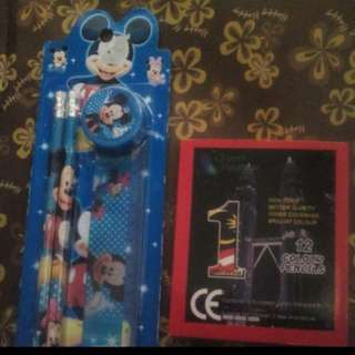 Alat Tulis Mickey Mouse Dan Pensil Warna
