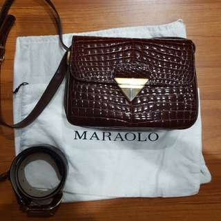 Genuine Crocodile Flap Bag and Belt