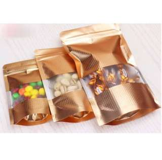 Gold Embossed Foil Standing Ziplock Cookie Bag Pouch Packaging Gift