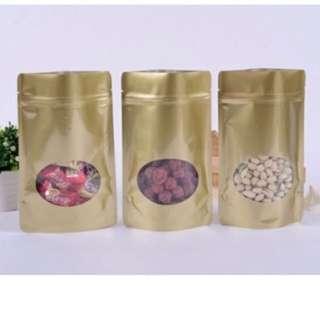 Matte Gold Standing Ziplock Cookie Bag Pouch Packaging Gift
