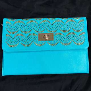 Aquamarine & Gold Evening Clutch Bag